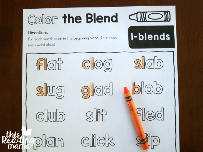 Color The Blends Phonics Pages