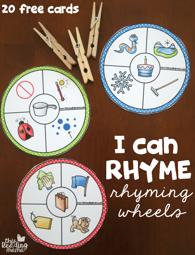 20 free rhyming wheels i can rhyme this reading mama