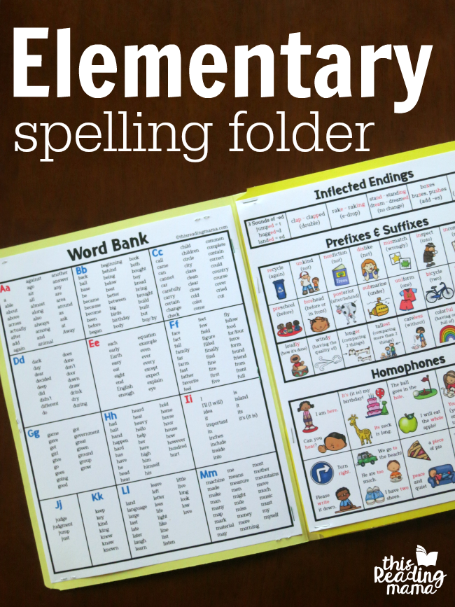 Elementary Spelling Folder for grades 3-5 | This Reading Mama