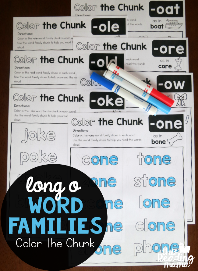 Long o Word Families - Color the Chunk Pages - This Reading Mama