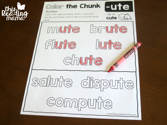 long u word family -ute color the chunk page