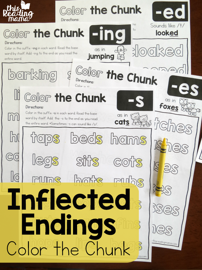 color the chunk inflected endings pages this reading mama