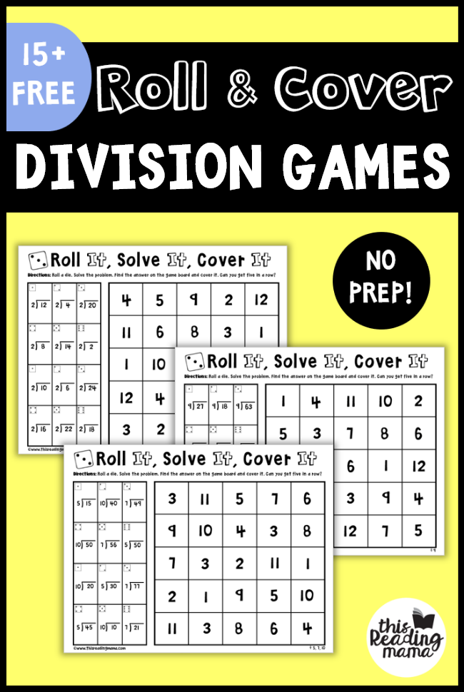 No Prep Division Games - Roll and Cover - This Reading Mama