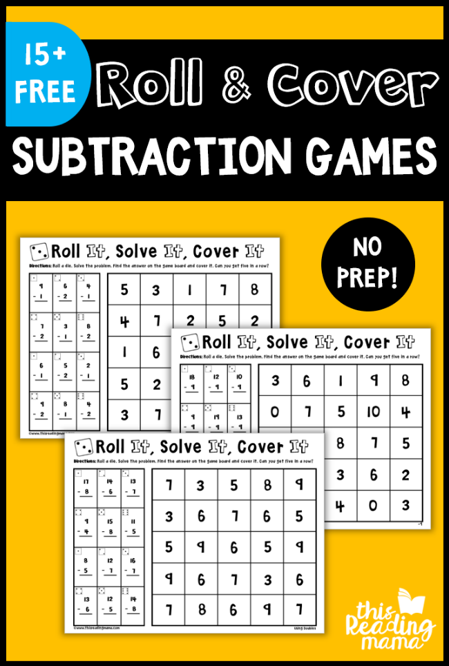 No Prep Subtraction Games - Roll and Cover - This Reading Mama
